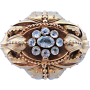 Victorian Mourning Brooch Aquamarine 14 Karat Gold