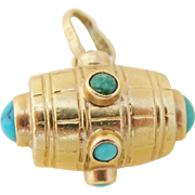 Victorian 18K Gold Turquoise Barrel Charm