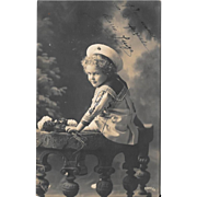RPPC Girl In Sailor Suit 1912 Real Photo Postcard