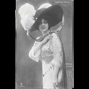 1911 Paris Fashion RPPC Pretty Lady Big Hat Real Photo Postcard