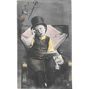 RPPC Boy In Top Hat With Hookah Tinted Real Photo Postcard