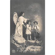RPPC Angel Guiding Children Real Photo Postcard
