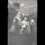 RPPC Children Mistletoe Snow 1912 German Real Photo Postcard