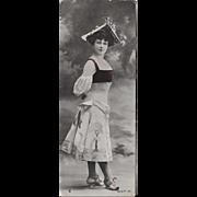 RPPC 1906 Fashionable Woman Unusual Size Real Photo Postcard
