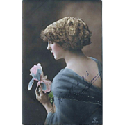 1913 Tinted RPPC Beautiful Woman Holding Iris Blossom - Red Tag Sale Item