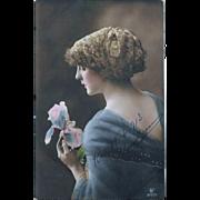 1913 Tinted RPPC Beautiful Woman Holding Iris Blossom
