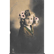 RPPC Young Girl With Pink Flowers In Her Hair Real Photo Postcard