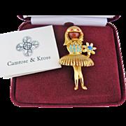 Ballerina Girl Camrose Kross Brooch Vintage Jackie Bouvier Kennedy JBK Collection Original Box