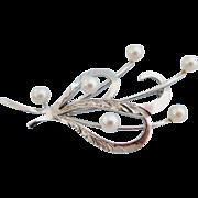 Vintage Pearl Spray Sterling Silver Floral Brooch