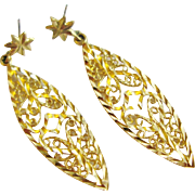 14K Gold Filigree Drop Dangle Earrings Diamond Cut
