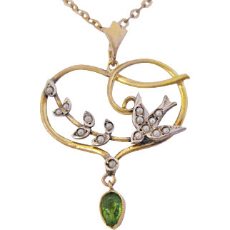 Antique Lavaliere Seed Pearl Swallow Bird Green Paste Gold Filled Sterling Silver Necklace