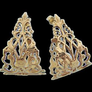14K Gold Wide Semi Hoop Openwork Filigree French Fleur de Lis Earrings
