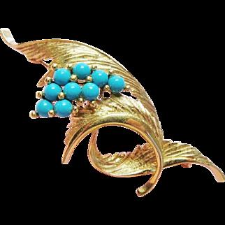 Elegant Turquoise 14K Gold Vintage Brooch