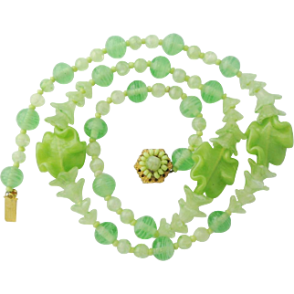 Miriam Haskell Floral Necklace Vintage Poured Green Glass