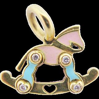 18K Gold Rocking Horse Charm Pendant Pink Blue Enamel Diamonds
