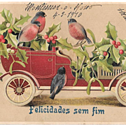 1910 New Year's Postcard Portugal Embossed Robins Car Holly