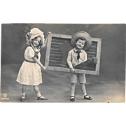 1912 RPPC Children With Frame Real Photo Postcard