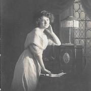 RPPC Pretty Woman Art Nouveau Lamp