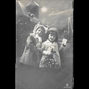 1912 RPPC Children On Snowy Night