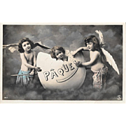 Unused French Easter RPPC Children With Angel Wings and Egg
