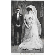 1907 RPPC Bride And Groom Wedding Real Photo Postcard