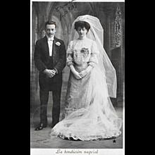 1907 RPPC Bride And Groom Wedding Real Photo Postcard
