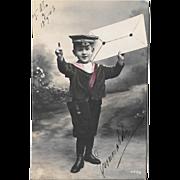 1906 RPPC Little Boy Big Letter Real Photo Postcard
