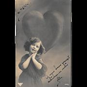 1911 RPPC Postcard Young Girl Big Heart