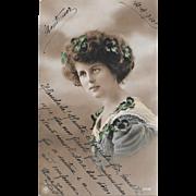 1913 Pretty Woman With Shamrocks Real Photo Postcard RPPC