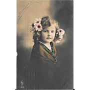 RPPC Girl With Pink Flowers In Her Hair