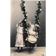 RPPC Children With Swing Real Photo Postcard