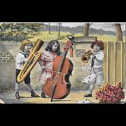 Edwardian Children's Band Music Postcard