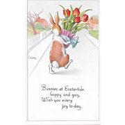 Twelvetrees Unused Easter Postcard Bunny Carrying Pot of Tulips