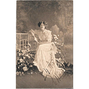 1916 Sepia Postcard Pretty Woman Reading In Garden