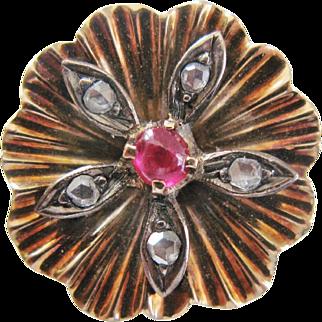 Antique 18K Rose Gold Cabochon Ruby Diamond Ring