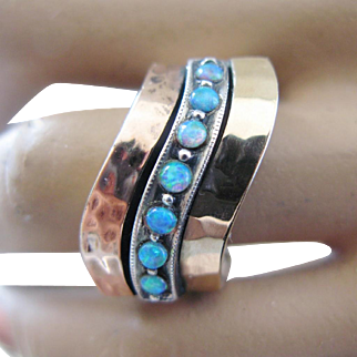 Fabulous Modernist Opal Ring Chunky Sterling Silver Gold Size 8.25