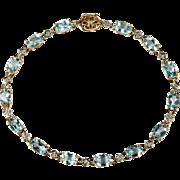 Aquamarine Diamond Bracelet 10k Plumb Gold Aquamarine Bracelet