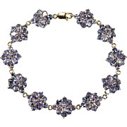 Tanzanite Flowers Bracelet 14ctw 10k Gold Genuine Tanzanite Tennis Bracelet