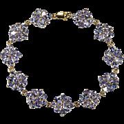 14ctw Genuine Tanzanite Flower Link Bracelet 10k Gold