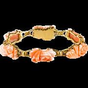 Art Nouveau Hand Carved Angel Skin Coral Roses 18k Gold Designer Coral Bracelet