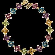 8ctw Mixed Gemstone Flower Bracelet 14k Gold Garnet Topaz Citrine Peridot Amethyst Tennis Bracelet