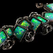 Genuine Opal Bracelet 925 Sterling Designer Five Star Square Opal Link Bracelet