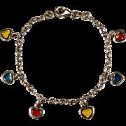Vintage Plique A Jour Heart Charm Bracelet 925 Sterling Silver Hearts Bracelet