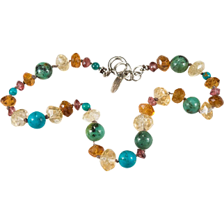 Tourmaline Citrine Turquoise Bracelet 925 Sterling Designer Hand Knotted Gemstone Beaded Bracelet