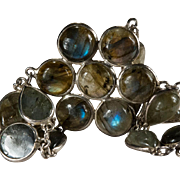 Natural Labradorite Bracelet 925 Sterling Silver Bezel Set Gemstone Chain