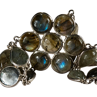 Natural Labradorite Bracelet 925 Sterling Silver Bezel Set Gemstone Chain