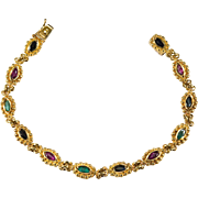 Ruby Emerald Sapphire 750 18k Gold Bezel Set Mixed Gemstone Etruscan Bracelet