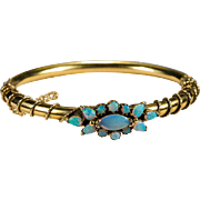 Natural Opal 14k Gold Bangle Bracelet