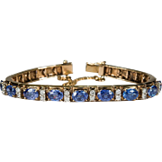Vintage 8ctw Tanzanite Diamond Bracelet 14k Gold Link Tennis Bracelet