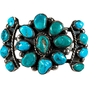 Old Pawn Nugget Turquoise Sterling Silver Bracelet